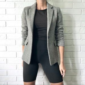 Black and white wool tweed fitted blazer jacket S